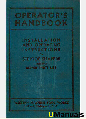 Western Steptoe Shapers Instruction and Parts Manual