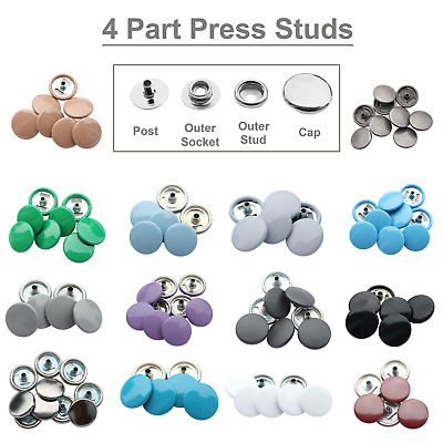 10 Complete Sets of 15mm Press Studs Snap Fasteners in Silver or 27 Colours Caps