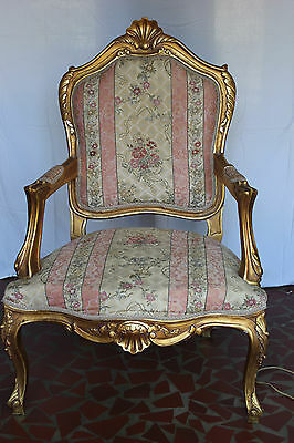 Vintage Victorian Gold Leaf  Ornate Armchair  Floral Fabric Very Pretty