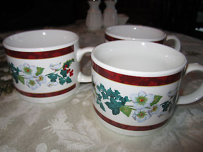 set of 3  Majesticware Christmas Holly Pattern coffee cups