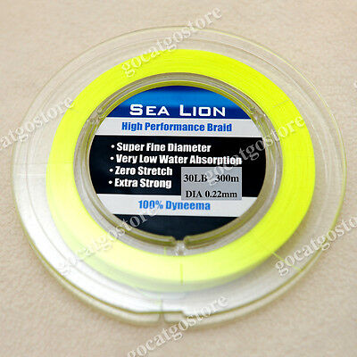 NEW Sea Lion 100% Dyneema Spectra Braid Fishing Line 300M 30lb yellow