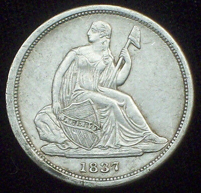 1837 Seated Liberty DIME SILVER Strong AU DETAILS SMALL DATE No Stars! **SALE**
