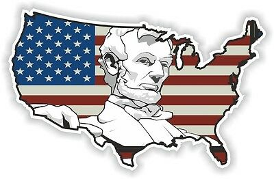 USA Abraham Lincoln STICKER America UNITED STATES MAP FLAG BUMPER VINYL DECAL
