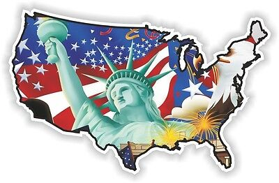 USA EAGLE statue STICKER America UNITED STATES MAP FLAG BUMPER DECAL PATRIOT n13