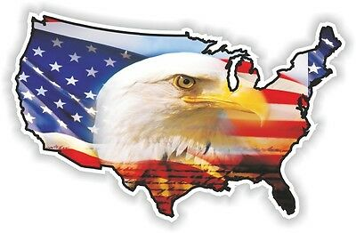USA EAGLE STICKER America UNITED STATES MAP FLAG BUMPER VINYL DECAL PATRIOT n10