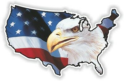 USA EAGLE STICKER America UNITED STATES MAP FLAG BUMPER VINYL DECAL PATRIOT n17