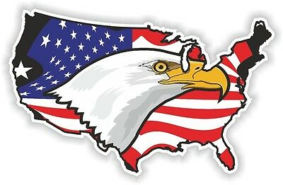 USA EAGLE STICKER America UNITED STATES MAP FLAG BUMPER VINYL DECAL PATRIOT n18