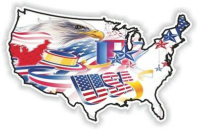 USA EAGLE STICKER America UNITED STATES MAP FLAG BUMPER VINYL DECAL PATRIOT n19