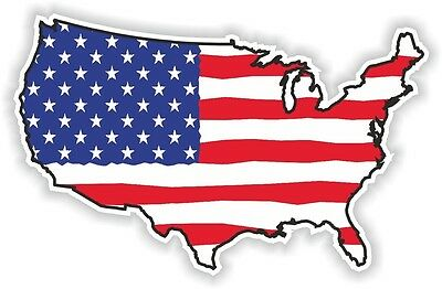 USA FLAG STICKER America UNITED STATES MAP FLAG BUMPER VINYL DECAL PATRIOT br02