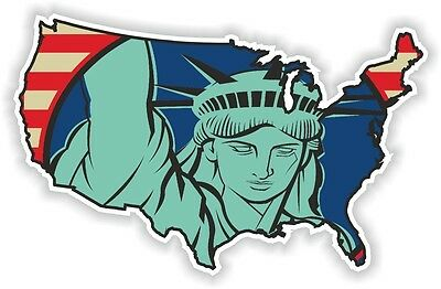 USA STATUE LIBERTY STICKER America UNITED STATES MAP FLAG BUMPER VINYL DECAL 01