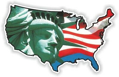 USA STATUE LIBERTY STICKER America UNITED STATES MAP FLAG BUMPER VINYL DECAL n21