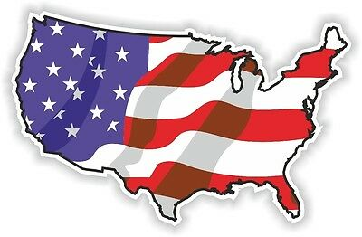 USA WAVING FLAG STICKER America UNITED STATES MAP FLAG BUMPER VINYL DECAL n02