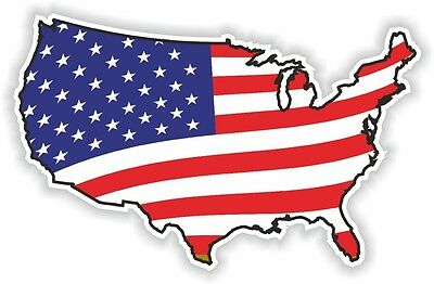 USA WAVING FLAG STICKER America UNITED STATES MAP FLAG BUMPER VINYL DECAL n03