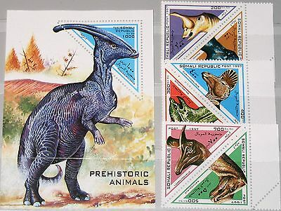 SOMALI REPUBLIC 1997 unlisted set + Block Dinosaurier Dinosaurs Fauna Tiere MNH