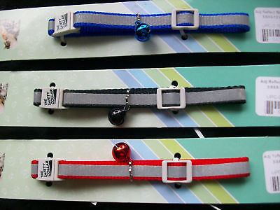 Percell Safety Reflective Adjustable Nylon Cat Collar Red Blue Black& Bell 8-12""