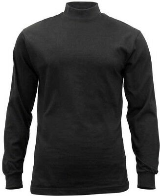 Black Mock Turtleneck Sweater High Collar Neck Uniform Top Long Sleeve Warm