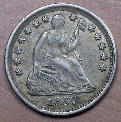 1857 Seated Liberty HALF DIME SILVER AU Nice Toning Early Authentic Coin HD 5C