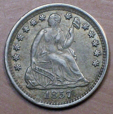 1857 Seated Liberty HALF DIME SILVER  AU Nice Toning Early Authentic Old US Coin