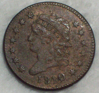1810 over 09 10/9 Overdate CLASSIC HEAD CORONET LARGE CENT S-281 Authentic 1C