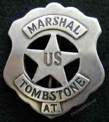 Old west US Marshal Tombstone A.T. silver badge #BW34