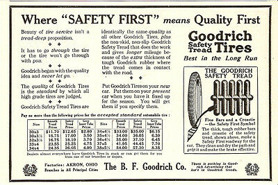 1914 B. F. GOODRICH SAFETY TREAD RUBBER TIRES ADVERTISEMENT AKRON OHIO