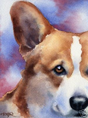 WELSH CORGI ART Print Dog 8 x 10 Signed by Watercolor Artist DJR w/COA