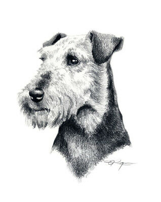 WELSH TERRIER ART Print 8 x 10 Pencil DOG Drawing Signed by Artist DJR w/COA