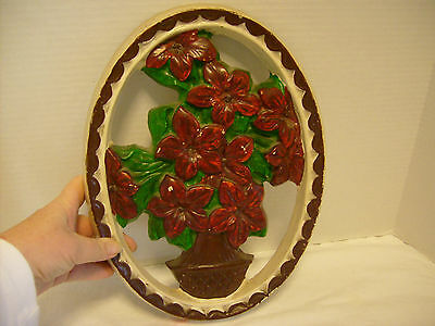 Chalkware Flowers and Vase Wall hanging, Oval, Red, green Brown, White, VINTAGE