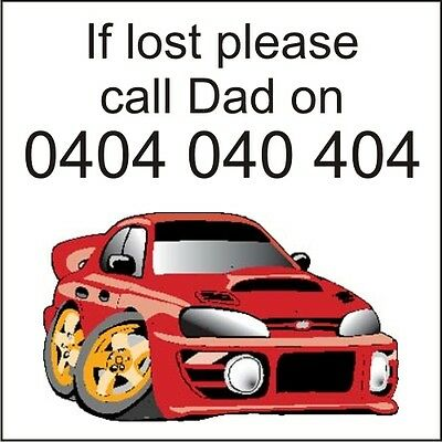 35 Custom Printed Temporary childrens tattoos If lost call DAD - Red Racing Car