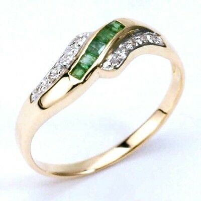 New 9K Solid Gold Ring With Genuine Natural Emeralds & Diamonds ,