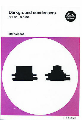 Leitz Darkground/ Darkfield Condenser Instruction Microscope Manual on CD-L0158