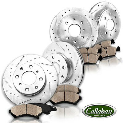 [FRONT + REAR] Drilled Slotted SPORT Brake Rotors + Quiet Ceramic Pads