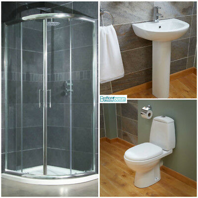 900mm Quadrant Shower Enclosure Cubicle Complete Toilet WC Basin Bathroom Suite