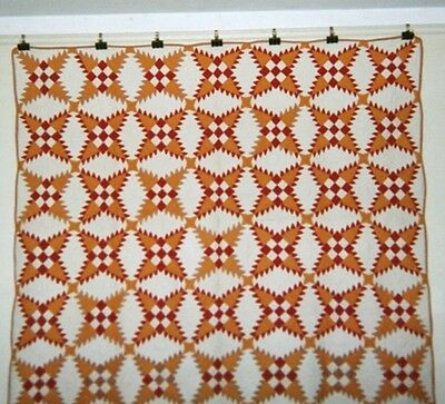 """SNOWFLAKE"" Quilt: 64"" x 74"", c1920's, Adirondack Co.,NY Red/Yellow/Tan Cottons."