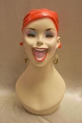 Fiber Glass Mannequin Head, Vintage, Wig,Hat,Jewelry Display,#Y5