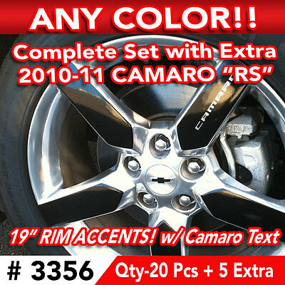 """25pc SET 2010-11 CHEVY CAMARO RS WHEEL 19"""" RIM ACCENTS DECAL STICKER - ANY COLOR"""