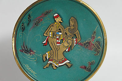 Vintage Enamel Brass Jewish Judaica Man Woman Plate Plaque Charger Israel