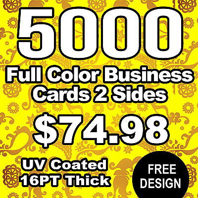 5000 Full Color 2 Sided UV Coating 16PT Thick Business Cards!!