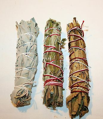 California White Sage, Black Sage & Yerba Santa 4-5 Inch Smudge Bundle 3 Pack