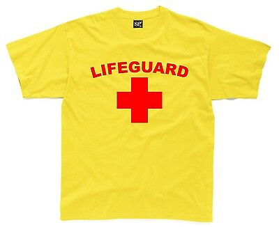 LIFEGUARD Mens T-Shirt S-3XL Yellow Printed Funny Fancy Dress Costume Outfit