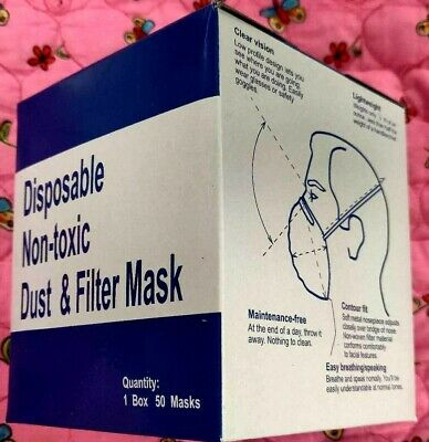 50 Piece Box of Disposable Face Safety Breathing Respiratory Particle Dust Masks