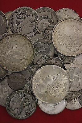MAKE OFFER 4 Standard Ounces 90% Silver Junk Coins 1 Silver Dollar INCLUDED