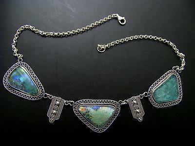 OOAK Hand Made Filigree Roman Glass 925 Silver Necklace