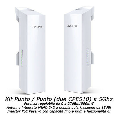 ACCESS POINT 500mW 150Mbps 5Ghz KIT 2 x CPE510 CPE repeater WIFI WIRELESS AP