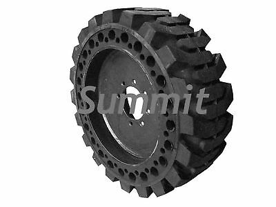 4 NEW SOLID BOBCAT 12 X 16.5 SKIDSTEER TIRES with RIMS FLAT PROOF RUBBER FILLED