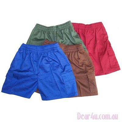 Boys girls School Uniform shorts pants green brown blue maroon black grey sz5-14