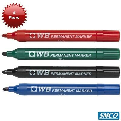 Qty 4 Original WB Permanent Bullet Tip Marker Pens Large Black Green Blue Red
