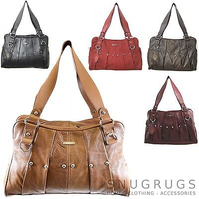 SALE!  REAL LEATHER Vintage Handbag Ladies Tote Shoulder Bag Black Red Tan Brown