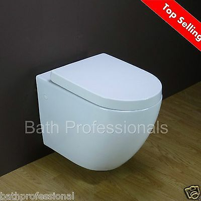 Toilet WC Bathroom Wall Hung Mounted Square Ceramic White Soft Close Seat ROMA