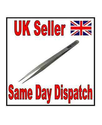 New Straight Stainless Steel Tweezers Tool Fine Pointed For Nail Art, Crafts Etc